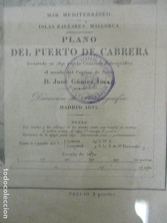 Arte: Antigua Carta Náutica - Plano del Puerto de Cabrera -Islas Baleares y Mallorca -Año 1893 -con Anexo - Foto 6 - 87787760