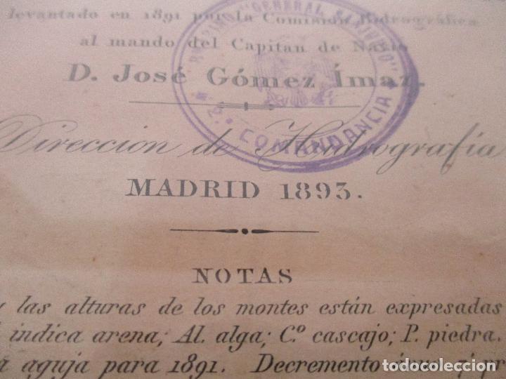 Arte: Antigua Carta Náutica - Plano del Puerto de Cabrera -Islas Baleares y Mallorca -Año 1893 -con Anexo - Foto 8 - 87787760