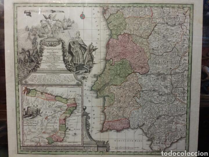 MAPA REINO DE PORTUGAL 1740 - 1760 CON LAS DIVISIONES INTERNAS REINOS ALGARVE Y BRASIL ED. SEUTTER (Arte - Cartografía Antigua (hasta S. XIX))