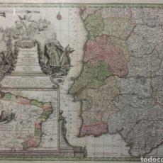 Arte: MAPA REINO DE PORTUGAL 1740 - 1760 CON LAS DIVISIONES INTERNAS REINOS ALGARVE Y BRASIL ED. SEUTTER. Lote 88153895