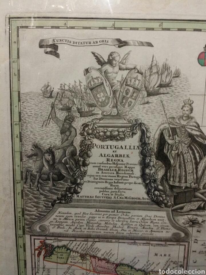 Arte: MAPA REINO DE PORTUGAL 1740 - 1760 CON LAS DIVISIONES INTERNAS REINOS ALGARVE Y BRASIL ED. SEUTTER - Foto 2 - 88153895