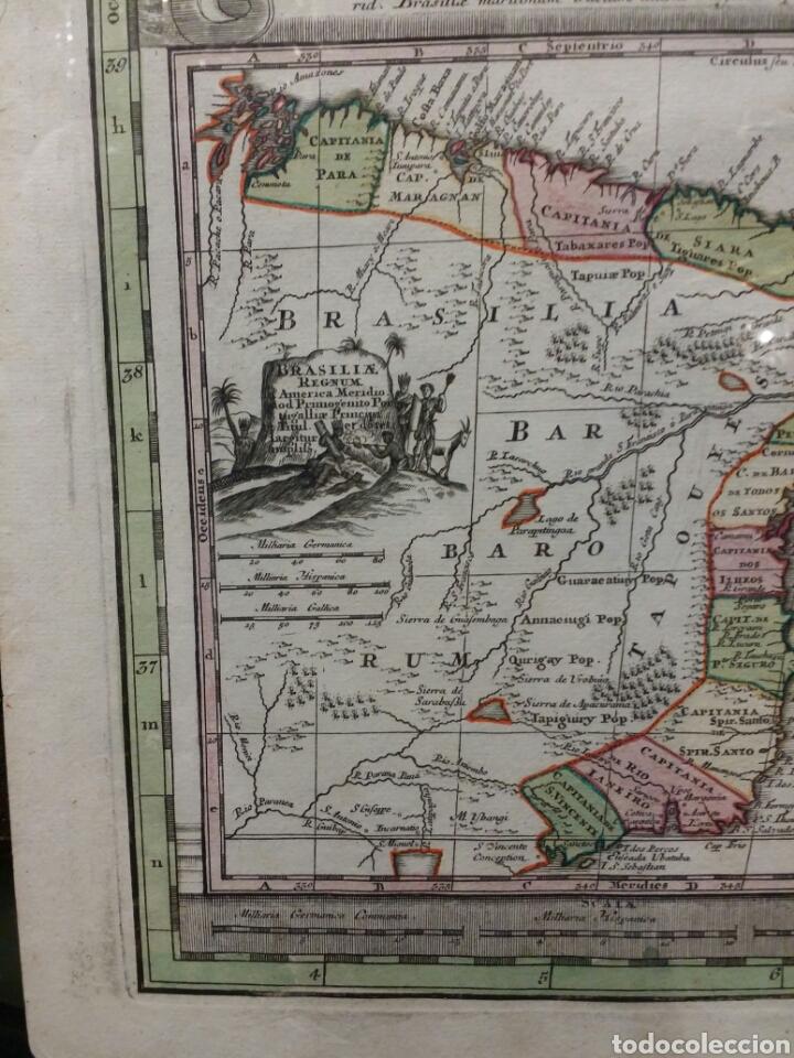 Arte: MAPA REINO DE PORTUGAL 1740 - 1760 CON LAS DIVISIONES INTERNAS REINOS ALGARVE Y BRASIL ED. SEUTTER - Foto 3 - 88153895