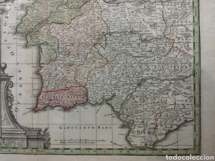 Arte: MAPA REINO DE PORTUGAL 1740 - 1760 CON LAS DIVISIONES INTERNAS REINOS ALGARVE Y BRASIL ED. SEUTTER - Foto 4 - 88153895