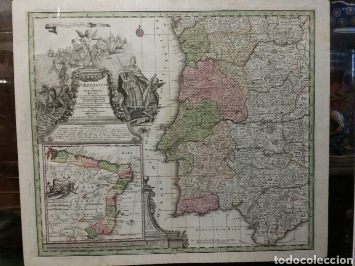 Arte: MAPA REINO DE PORTUGAL 1740 - 1760 CON LAS DIVISIONES INTERNAS REINOS ALGARVE Y BRASIL ED. SEUTTER - Foto 7 - 88153895