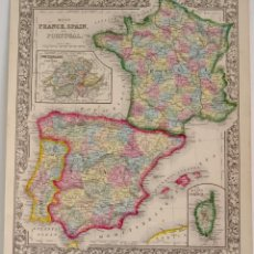 Arte: MAPA DE FRANCIA ESPAÑA PORTUGAL HELVETIA 1862. Lote 88165772