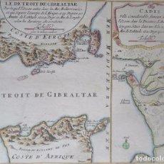 Arte: CÁDIZ Y GIBRALTAR, MAPA DOBLE POR N. DE FER (1695), LE DETROIT DE GIBRALTAR.../CADIS..... Lote 89717432