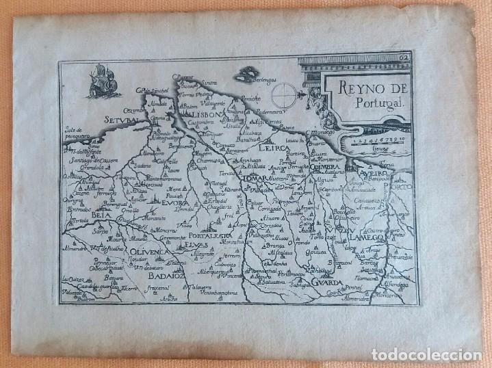 Arte: Mapa antiguo Portugal año 1640 con certificado autenticidad. Mapas antiguos Portugal - Foto 3 - 90406024