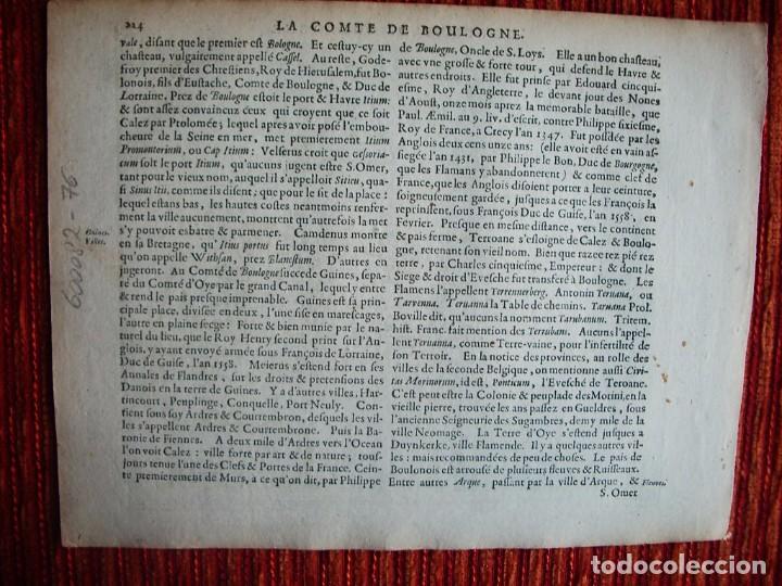 Arte: 1630-MAPA BOULOGNE.BOLONIA ET GUINES.FRANCIA. MERCATOR.JANSSONIUS. AMSTERDAM.ORIGINAL - Foto 3 - 90823805