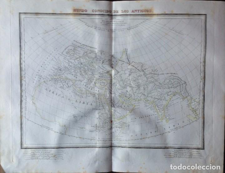 MAPA MUNDO CONOCIDO DE LOS ANTIGUOS. PABLO ALABERN. BARCELONA 1835. (Arte - Cartografía Antigua (hasta S. XIX))