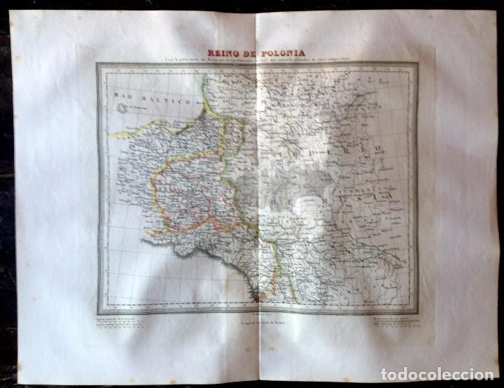 MAPA CALCOGRÁFICO REINO DE POLONIA GRABADO POR RAMÓN ALABERN. (Arte - Cartografía Antigua (hasta S. XIX))