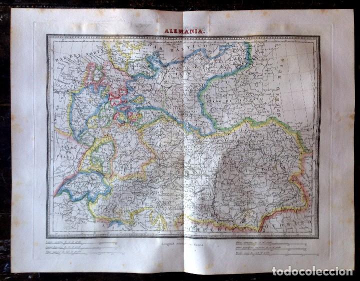 MAPA CALCOGRÁFICO ALEMANIA GRABADO POR RAMÓN ALABERN (Arte - Cartografía Antigua (hasta S. XIX))