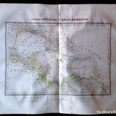 Arte: MAPA ISLAS ANTILLAS Y GOLFO DE MÉJICO DE TARDIEU.. Lote 90951570