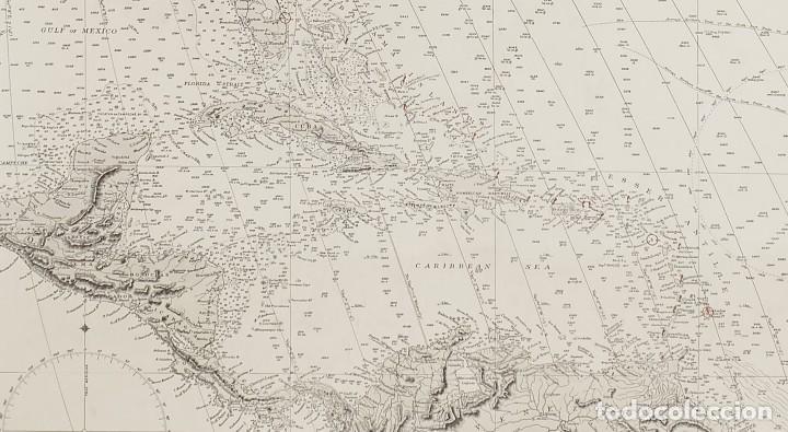 Arte: 1870 - Atlántico - Carta náutica ideal para Hotel, Bar, Restaurante de Costa o Temática Marítima - Foto 3 - 90988665
