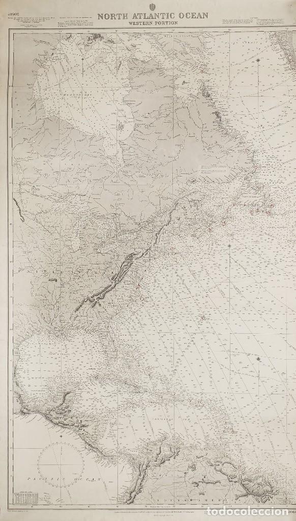 Arte: 1870 - Atlántico - Carta náutica ideal para Hotel, Bar, Restaurante de Costa o Temática Marítima - Foto 5 - 90988665