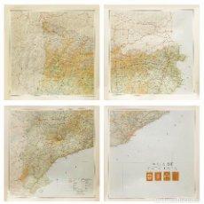 Arte: ENORME Y DETALLADÍSIMO MAPA DE CATALUNYA CATALUÑA EN 4 GRANDES HOJAS . EN TOTAL 160X160CM.. Lote 90992945