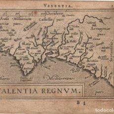 Arte: ANTIGUO MAPA DEL REINO DE VALENCIA (VALENTIA REGNUM), ORTELIUS, 1595.. Lote 93301480
