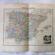 Arte: MAPA DE ESPAÑA Y PORTUGAL, 1889. MIGEON. Lote 93307795