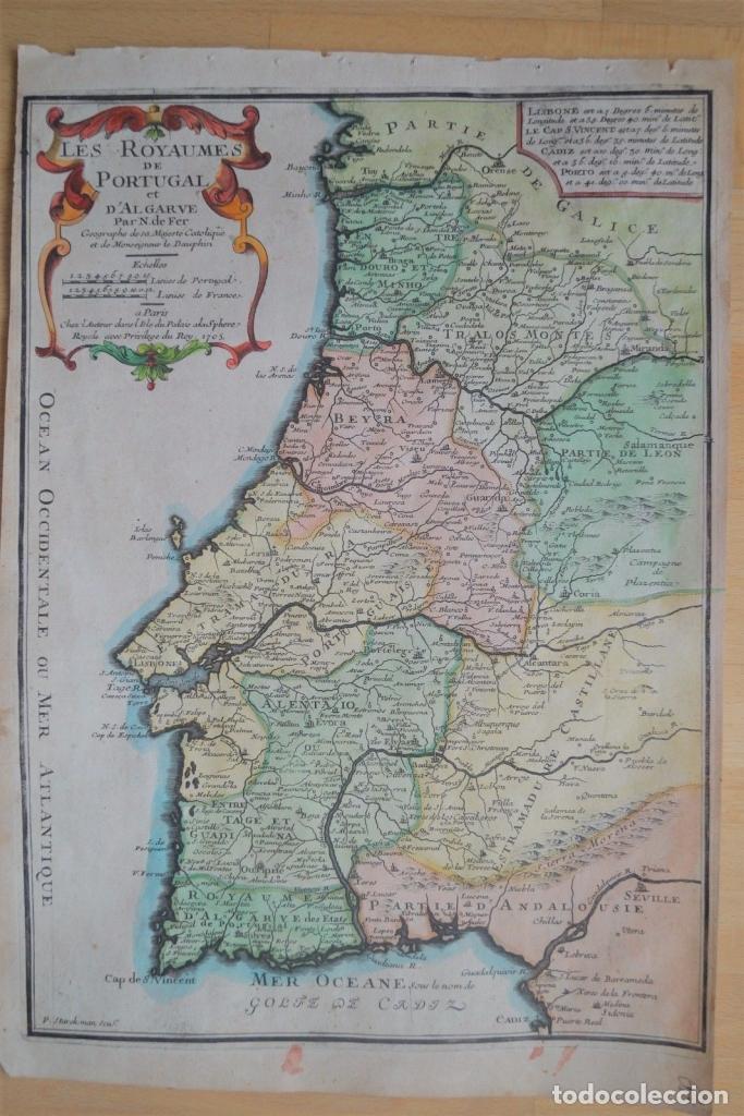 Mapa De Portugal 1705 Nicolas De Fer Sold Through Direct Sale