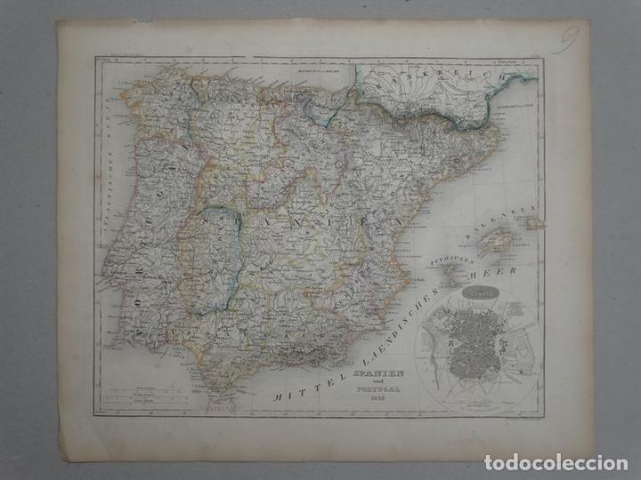 MAPA DE ESPAÑA Y PORTUGAL, 1852. BORNMÜLLER/MEYER (Arte - Cartografía Antigua (hasta S. XIX))