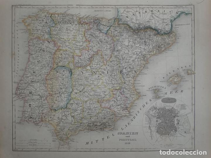 Arte: Mapa de España y Portugal, 1852. Bornmüller/Meyer - Foto 2 - 93628960