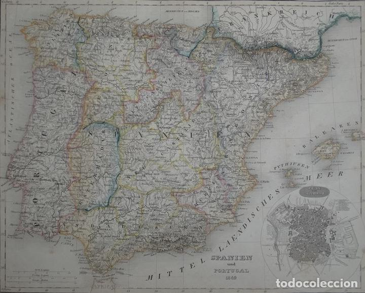 Arte: Mapa de España y Portugal, 1852. Bornmüller/Meyer - Foto 3 - 93628960