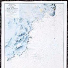 Art: PLANO DE LA COSTA DEL CABO DE SAN SEBASTIÁN, GIRONA. MAR MEDITERRÁNEO. CARTA NÁUTICA. . Lote 93649140