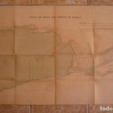 Arte: BILBAO 1896. PLANO DE LAS OBRAS DEL PUERTO EN CONSTRUCCION. ORIGINAL DE ÉPOCA. TAMAÑO 56X90CM.. Lote 93765180
