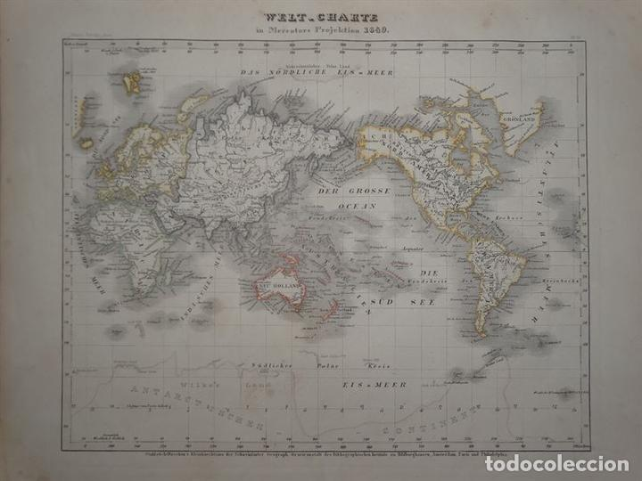 MAPA DEL MUNDO POR PROYECIÓN MERCATOR, 1852. ANÓNIMO (Arte - Cartografía Antigua (hasta S. XIX))