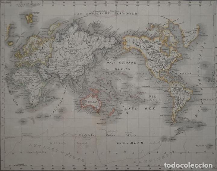 Arte: Mapa del Mundo por proyeción Mercator, 1852. Anónimo - Foto 3 - 93798710