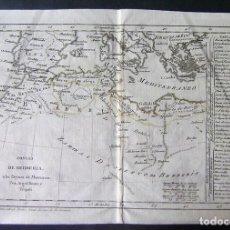 Arte: MAPA DEL NORTE DE ÁFRICA Y MAR MEDITERRÁNEO, 1792. TOMÁS LÓPEZ. Lote 93834530