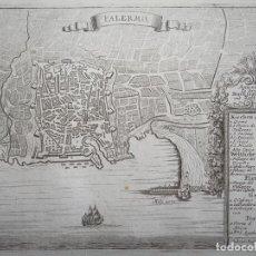 Arte: PLANO DEL PUERTO Y CIUDAD DE PALERMO ( SICILIA, ITALIA), 1720. BODENEHR. Lote 94386446