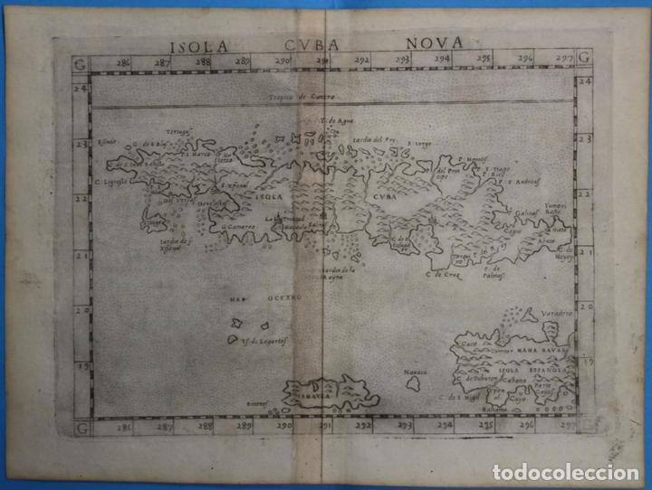 MAPA DE LA ISLA DE CUBA ( ÁMERICA )1574. PTOLOMEO / RUSCELLI (Arte - Cartografía Antigua (hasta S. XIX))