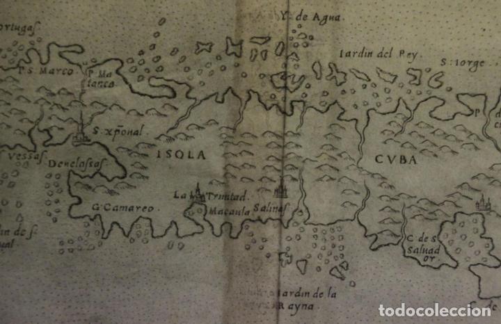 Arte: Mapa de la isla de Cuba ( Ámerica )1574. Ptolomeo / Ruscelli - Foto 5 - 94386986
