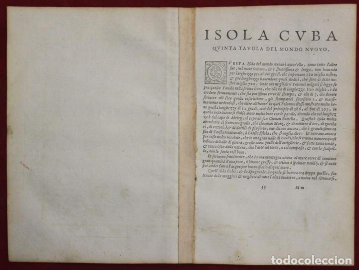 Arte: Mapa de la isla de Cuba ( Ámerica )1574. Ptolomeo / Ruscelli - Foto 10 - 94386986