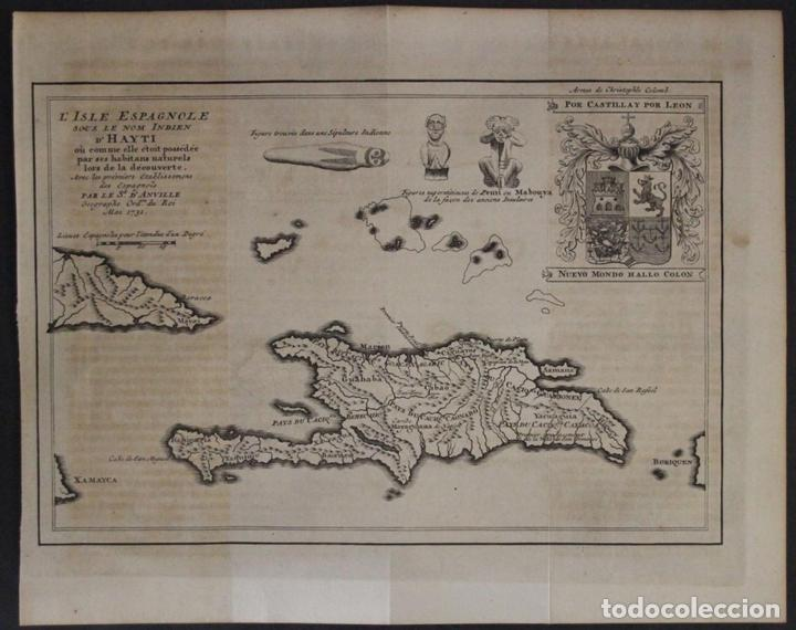 MAPA DE LA ISLA DE SANTO DOMINGO (HAITÍ-SANTO DOMINGO, ÁMERICA), 1731. ANVILLE/LEPARMENTIER/DIDOT (Arte - Cartografía Antigua (hasta S. XIX))