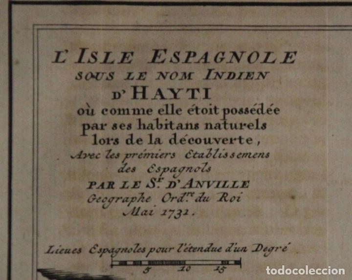 Arte: Mapa de la isla de Santo Domingo (Haití-Santo Domingo, Ámerica), 1731. Anville/Leparmentier/Didot - Foto 2 - 94387158