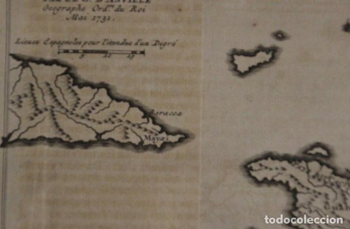Arte: Mapa de la isla de Santo Domingo (Haití-Santo Domingo, Ámerica), 1731. Anville/Leparmentier/Didot - Foto 4 - 94387158