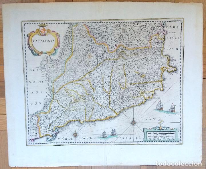 MAPA ANTIGUO DE CATALUÑA DE 1638 JANSONIUS/HONDIUS CON CERTIF. AUTENTIC. MAPAS ANTIGUOS CATALUÑA (Arte - Cartografía Antigua (hasta S. XIX))
