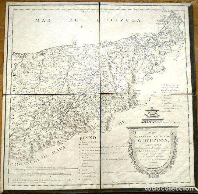 MAPA ANTIGUO GUIPÚZCOA AÑO 1770 CON CERTIFICADO DE AUTENTICIDAD . MAPAS ANTIGUOS PAÍS VASCO (Arte - Cartografía Antigua (hasta S. XIX))