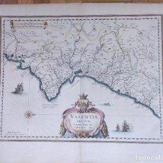 Arte: MAPA ANTIGUO VALENCIA DE BLAEU AÑO 1640 CON CERTIFICADO AUTENTIC. MAPAS ANTIGUOS REINO VALENCIA. Lote 53959266