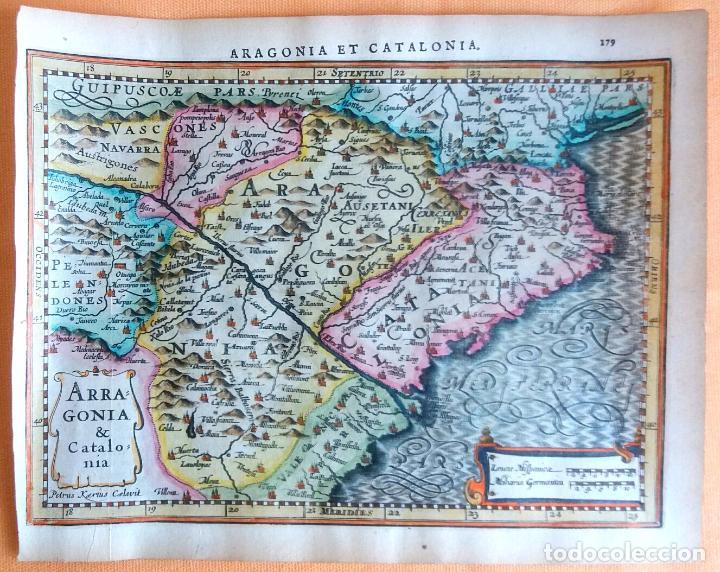 MAPA ANTIGUO CATALUÑA Y ARAGÓN CON CERTIF. AUTENT. AÑO 1632 . MAPAS ANTIGUOS ARAGÓN Y CATALUÑA (Arte - Cartografía Antigua (hasta S. XIX))
