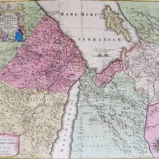 Arte: EGIPTO, TIERRA SANTA, CHIPRE ETC. MAPA POR M. SEUTTER (1734), DESERTA AEGYPTI THEBAIDIS, ARABIAE..... Lote 94705751