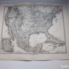 Arte: MAPA DE AMÉRICA DEL NORTE Y CENTRO, 1879. STIELER /PERTHES. Lote 94728819
