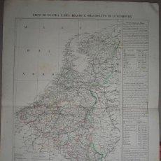 Arte: MAPA DE PAÍSES BAJOS, BÉLGICA Y LUXEMBURGO, 1856. MARZOLLA. Lote 95847647