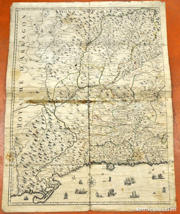 ANTIGUO MAPA DE CATALUÑA (VEGUERIAS) DEL SIGLO XVIII CON DEMARCACIONES ILUMINADAS A MANO (Arte - Cartografía Antigua (hasta S. XIX))