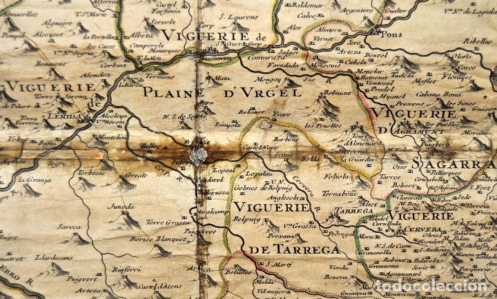 Arte: ANTIGUO MAPA DE CATALUÑA (VEGUERIAS) DEL SIGLO XVIII CON DEMARCACIONES ILUMINADAS A MANO - Foto 2 - 95999283