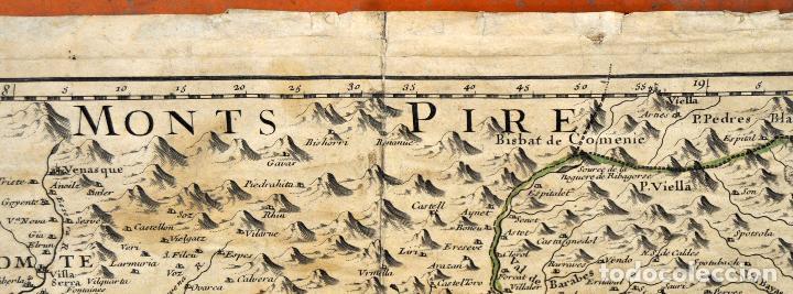 Arte: ANTIGUO MAPA DE CATALUÑA (VEGUERIAS) DEL SIGLO XVIII CON DEMARCACIONES ILUMINADAS A MANO - Foto 4 - 95999283
