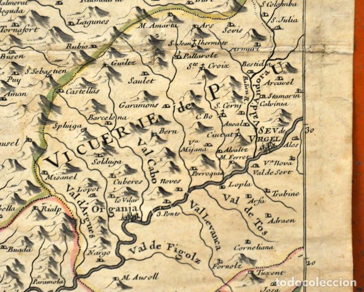 Arte: ANTIGUO MAPA DE CATALUÑA (VEGUERIAS) DEL SIGLO XVIII CON DEMARCACIONES ILUMINADAS A MANO - Foto 5 - 95999283