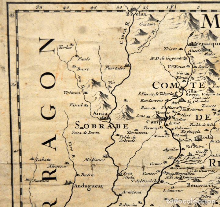 Arte: ANTIGUO MAPA DE CATALUÑA (VEGUERIAS) DEL SIGLO XVIII CON DEMARCACIONES ILUMINADAS A MANO - Foto 6 - 95999283