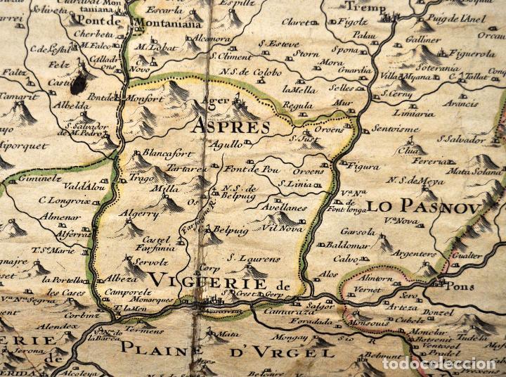 Arte: ANTIGUO MAPA DE CATALUÑA (VEGUERIAS) DEL SIGLO XVIII CON DEMARCACIONES ILUMINADAS A MANO - Foto 7 - 95999283